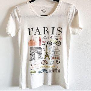 J CREW Paris collection graphic tee shirt XXS